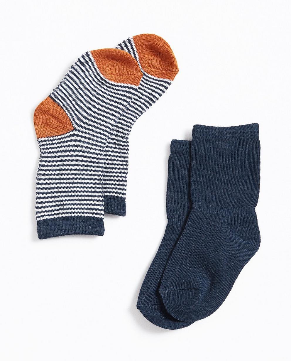2 paires de chaussettes - rayées et unies - Newborn